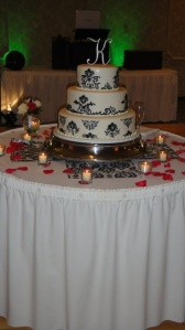 white fondant with black design