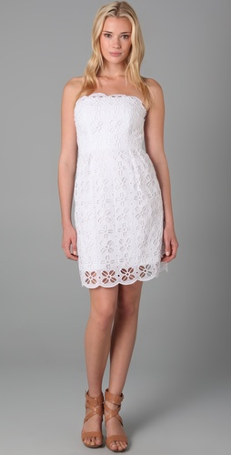 emalina strapless white cotton eyelet milly ny