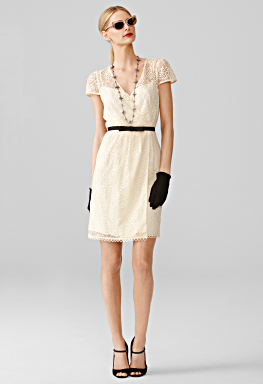 emilie wrap dress in ivory with lace sleeves