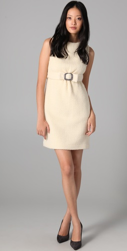 vivi dress Milly NY with rhinestone belt at empire waist, sleeveless